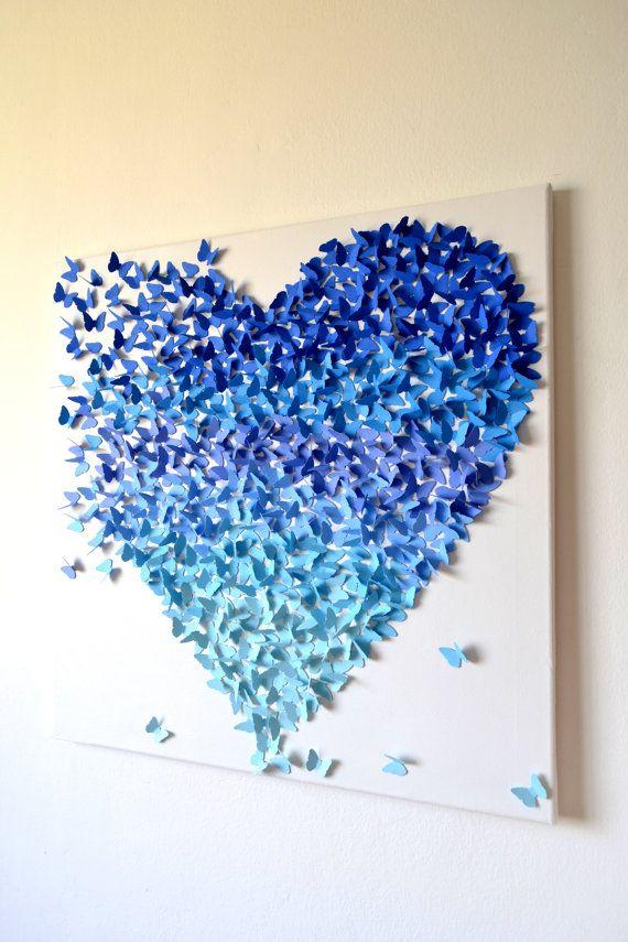 hnliche artikel wie 3d blau ombre schmetterling herz 3d schmetterling kunst made to order. Black Bedroom Furniture Sets. Home Design Ideas