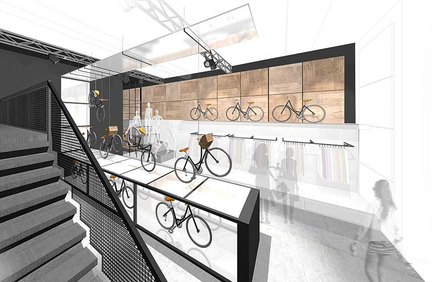 This Futuristic Feminist Bike Emporium U2013 With Hints Of The Riverside  Museumu0027s Wall Of Cars U2013 Was Dreamt Up By Interior Design Student Jen  Campbell As Part ...
