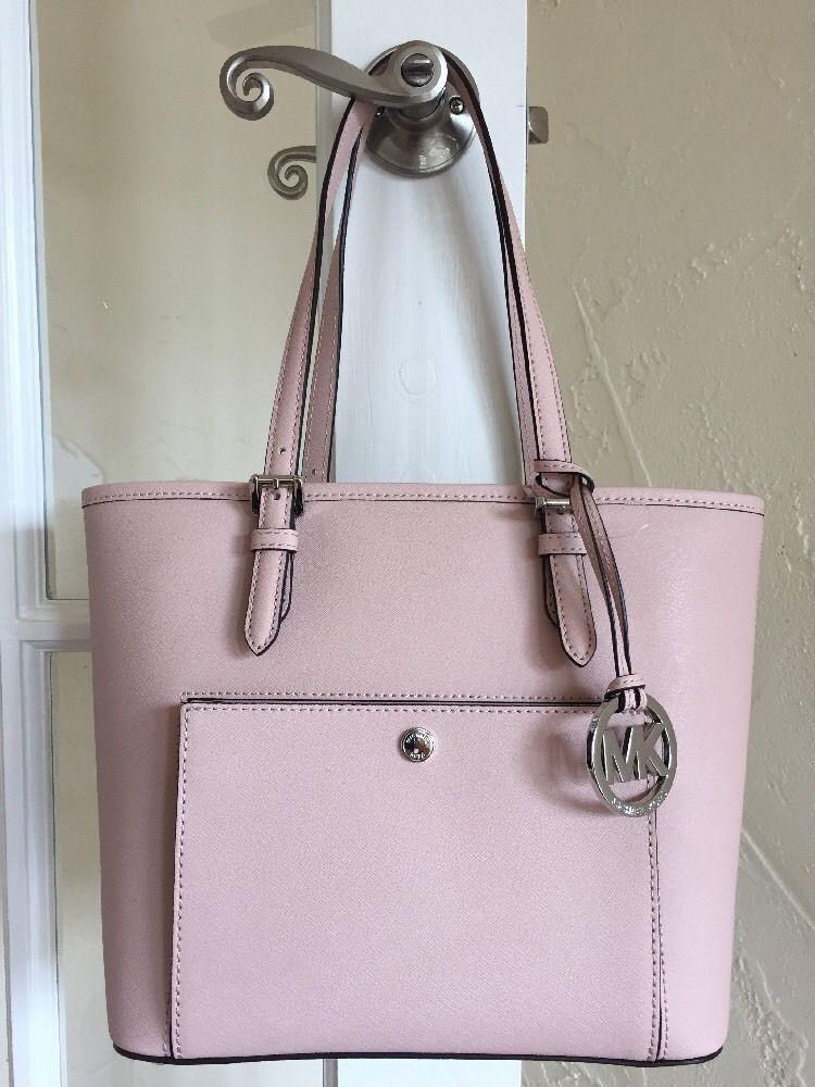 0569a5f1b9f6 Michael Kors Jet Set Medium Snap Pocket Tote Ballet Pink | eBay ...