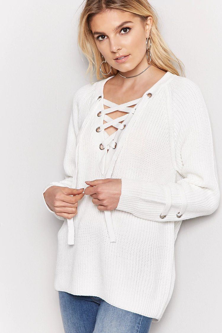 Oversized Ribbed Knit Lace-Up Sweater  7ccdd1211