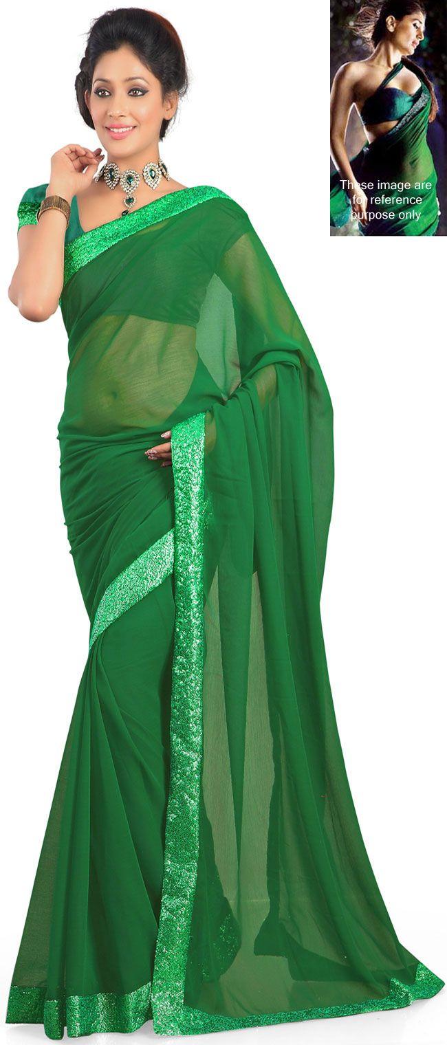Kareena Kapoor in Green chiffon and Silk Saree-IG5060 at ...