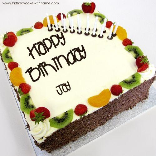 Happy Birthday Fruits And Cream Cake With Name Jay Name Cake