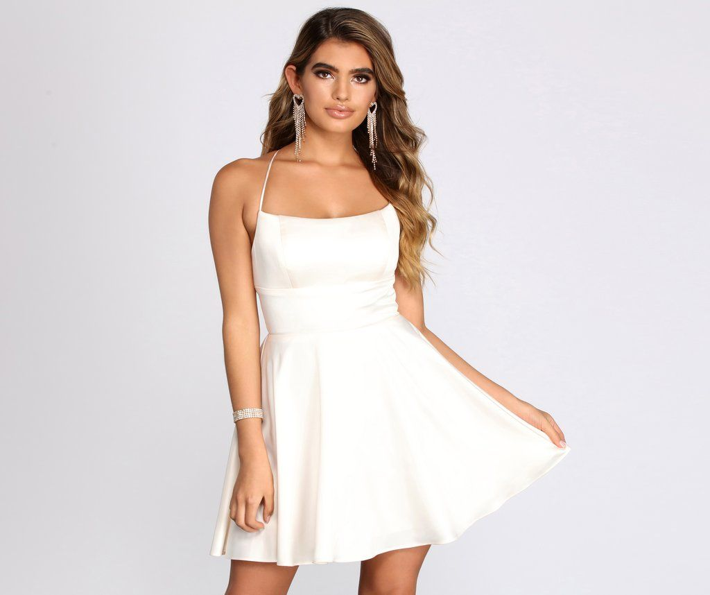 Sonya Satin Dress In 2021 White Homecoming Dresses White Dresses Graduation Short White Dress Graduation [ 858 x 1024 Pixel ]