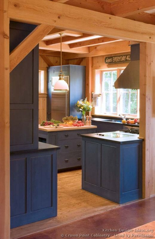 Traditional Blue Kitchen Cabinets 02 Crown Point Design