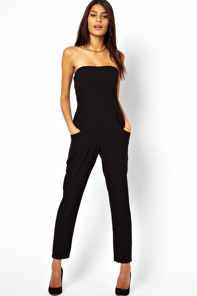 Fashion Women 2014 Clothing Sexy Vogue Tube Top Off Shoulder Black Jumpsuit  pants LC6425 evening rompers