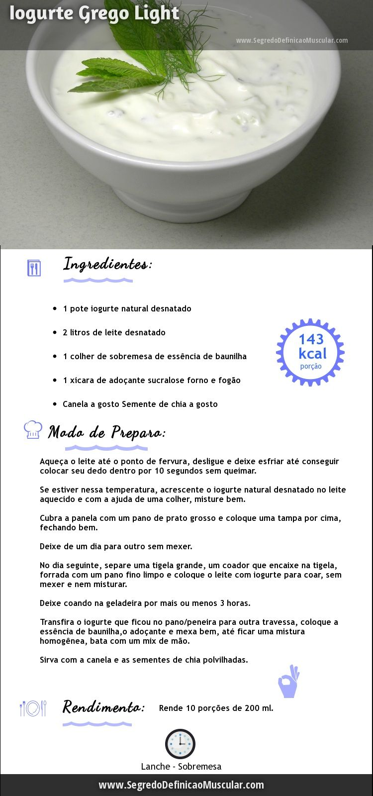 Iogurte Grego Light para você fazer em casa... Veja Mais Dicas Aqui ~> http://www.SegredoDefinicaoMuscular.com #IogurteGrego