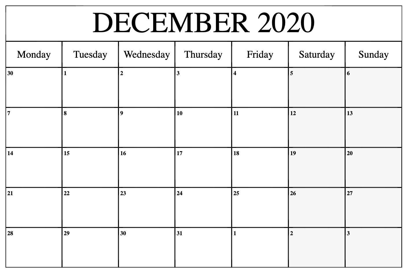 December 2020 Calendar Printable Template With Holidays ...