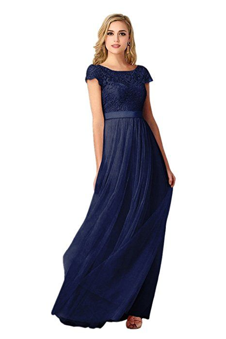 Babyonline Damen Dunkel Blaues Kleid Spitze Tüll Chiffon ...