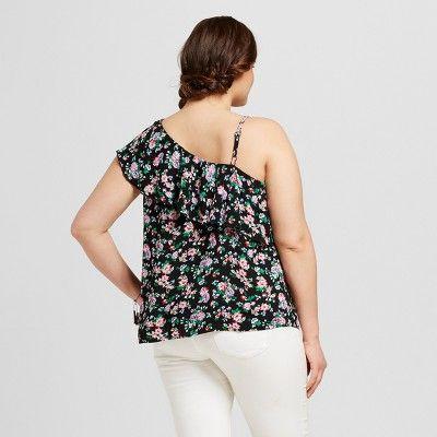 Women's Plus Size Floral Print One Shoulder Flounce Top Black 3X - Crave Fame (Juniors')