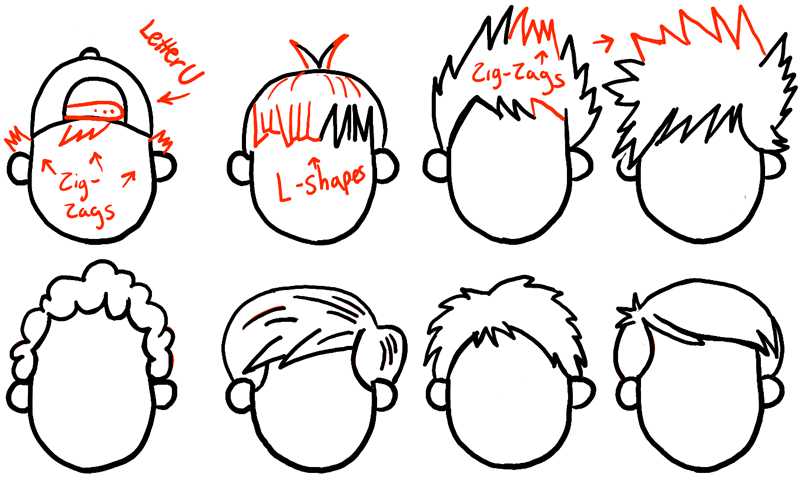 How To Draw Boys And Mens Hair Styles For Cartoon Characters Drawing Tutorial How To Draw Step By Step Drawing Tutorials Cartoon Hair Drawing Cartoon Characters Boy Drawing