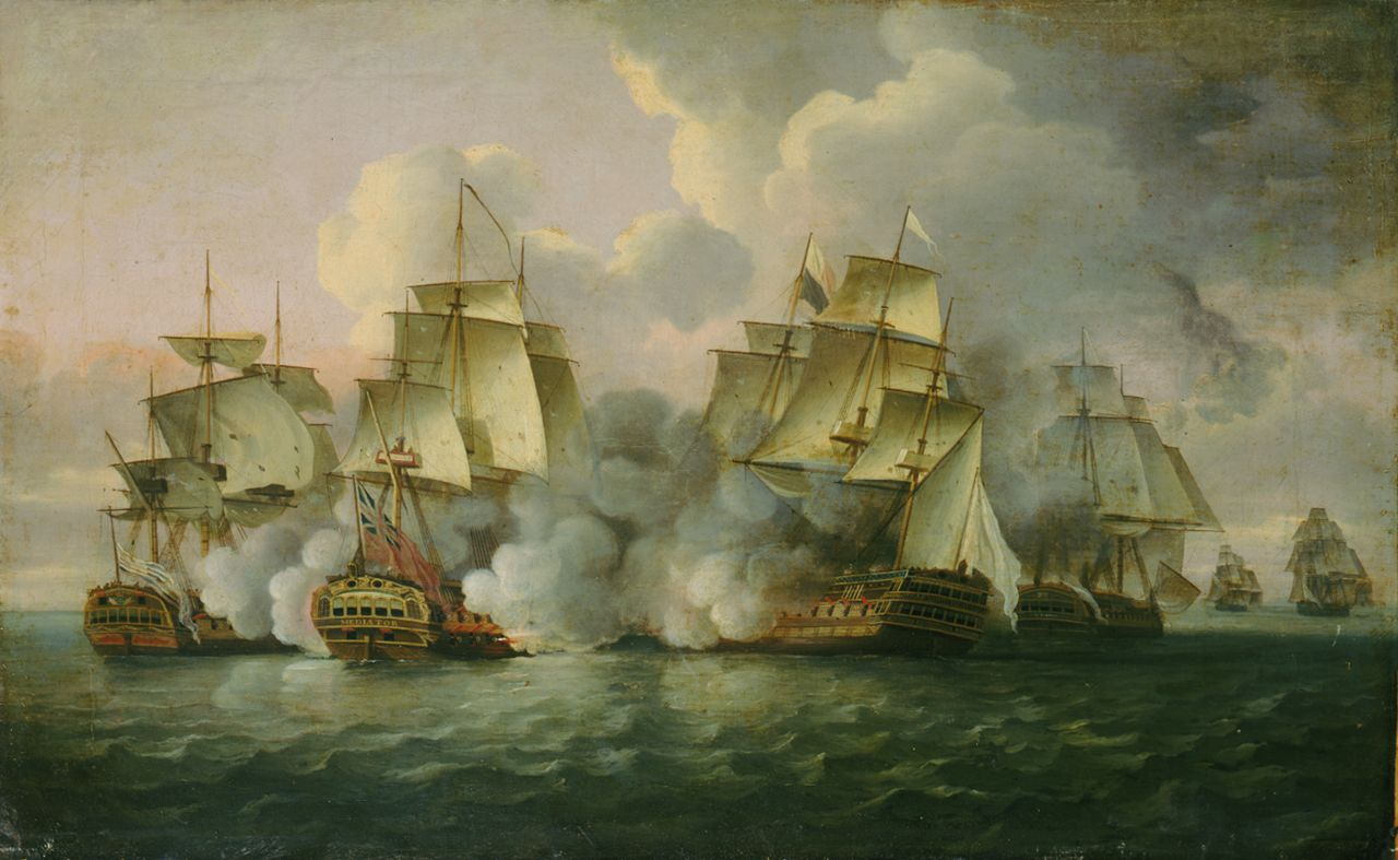 HMS 'Mediator' engaging French and American vessels, 11-12 December 1782 - National Maritime Museum