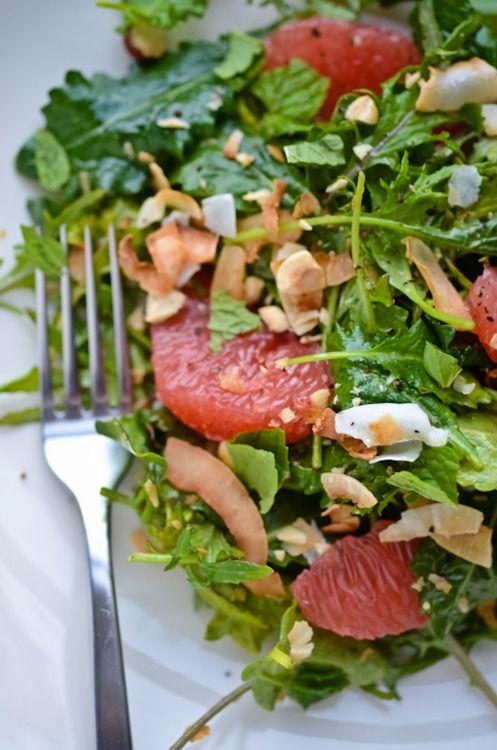 kale, grapefruit and coconut salad
