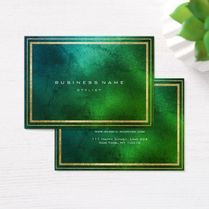 Golden Frame Tropical Greenery Glass Minimal Business Card - minimal ...