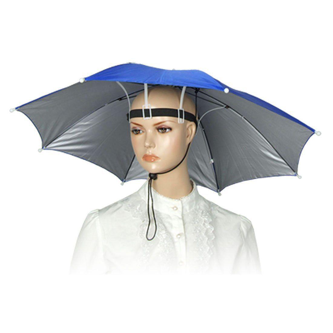 4665be21c38ee 3.8AUD - Elastic Headband Metal Frame Hands Free Nylon Umbrella Hat Blue Hy   ebay  Fashion