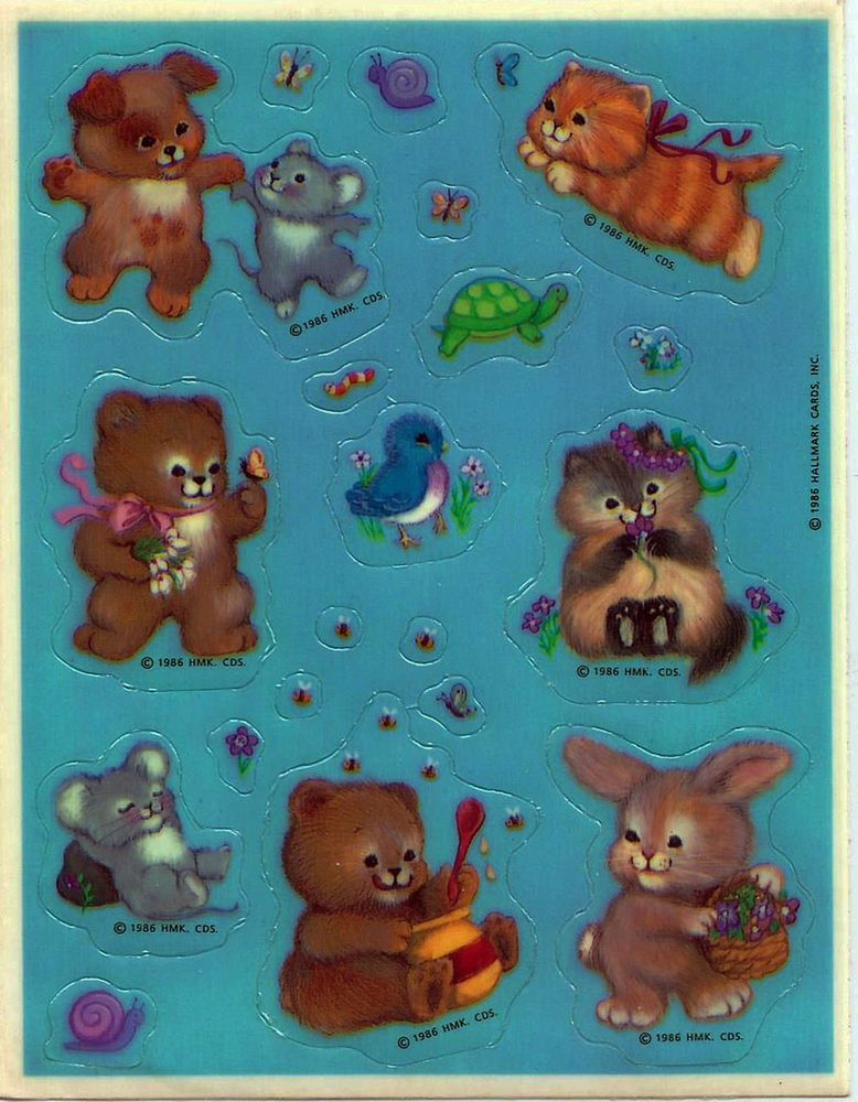Stickers Vintage 1 sheet GLOSSY FINISH Bears, Kitten,Mice, Bunny,Blue Bird A1-27 #Hallmark #Stickers