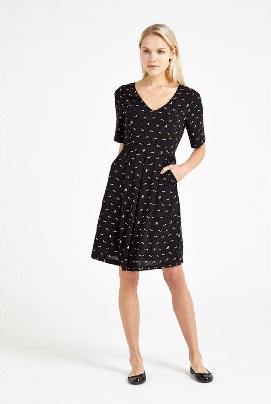 31dd3cb7777a Louche Ronneta Raccoon Print V-Neck Tea Dress | products i own and ...