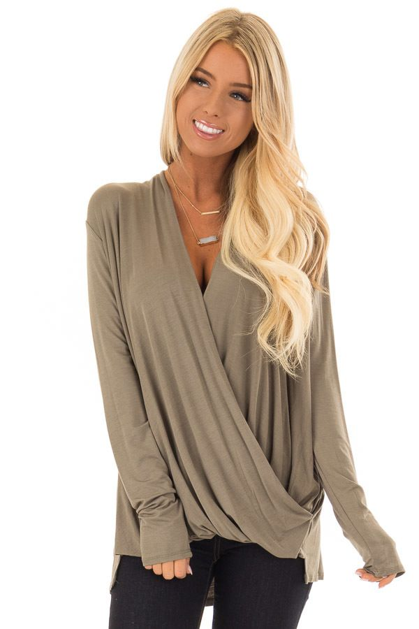 da92b49d60b2f8 Lime Lush Boutique - Olive Surpliced Bamboo Long Sleeve Top