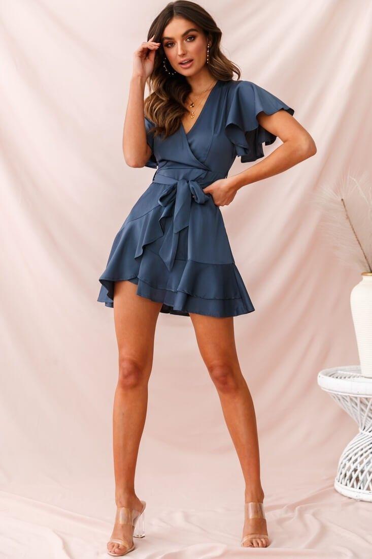 Cami Angel Sleeve Faux Wrap Dress Blue - Faux wrap dress, Wrap dress, Sexy dresses, Hoco dresses, Elegant dresses, Womens dresses - Shop the Cami Angel Sleeve Faux Wrap Dress Blue   Selfie Leslie
