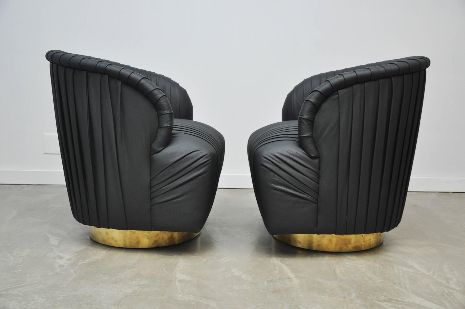 Superb Pleated Leather And Brass Swivel Chairs 7 Swivel Chair Forskolin Free Trial Chair Design Images Forskolin Free Trialorg