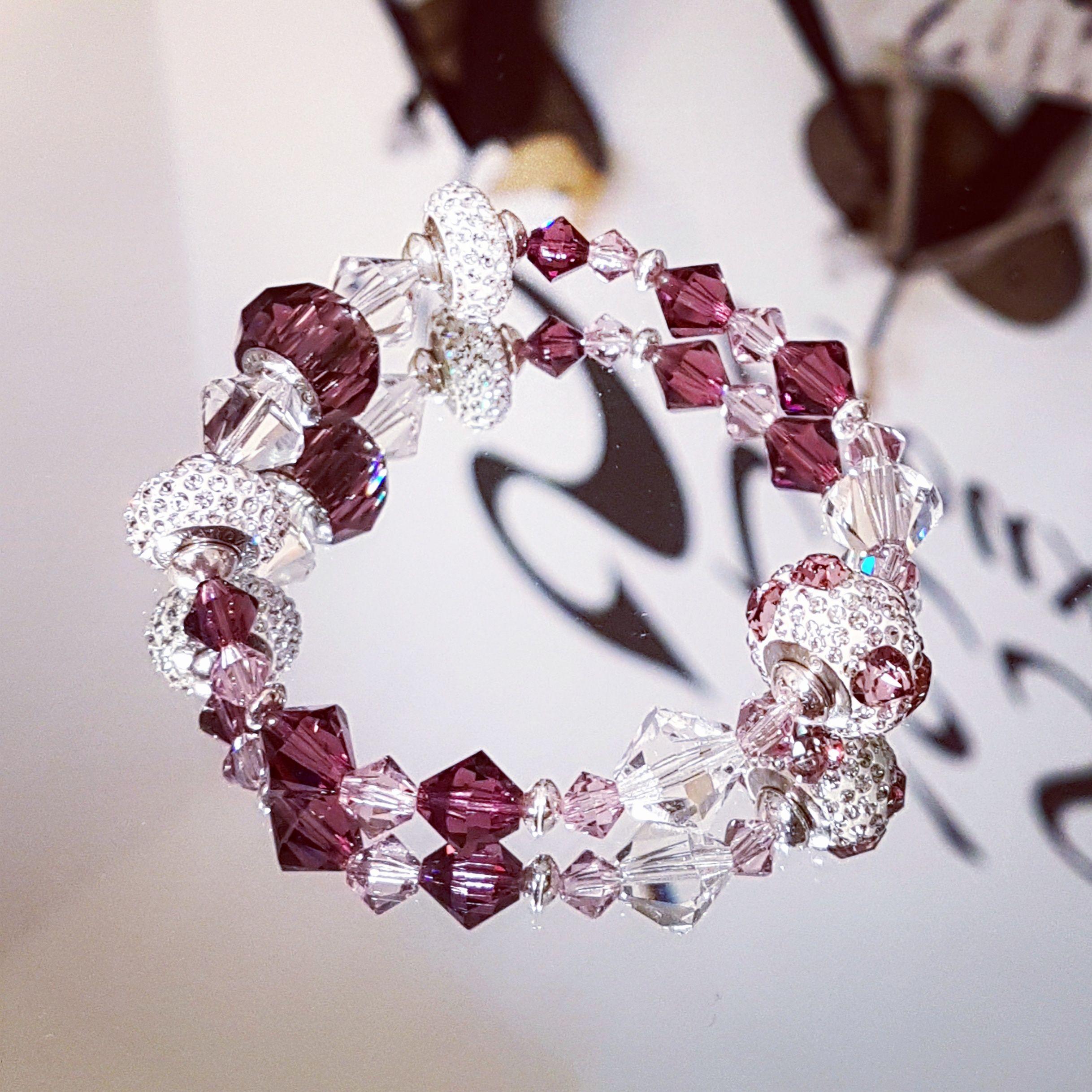 Bracelet TOUT en perles de cristal Swarovski (toupies transparents ...