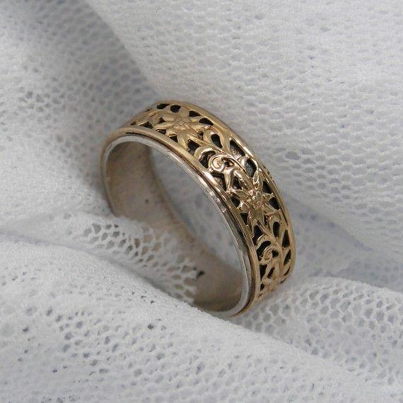 Silver gold ring floral ring gsr7072 birthday t by Maya