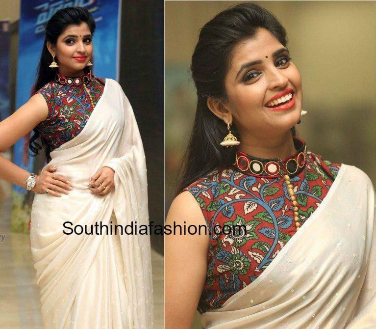 0644cceac1e47b Plain Saree With Kalamkari Blouse - A Must Try Look!