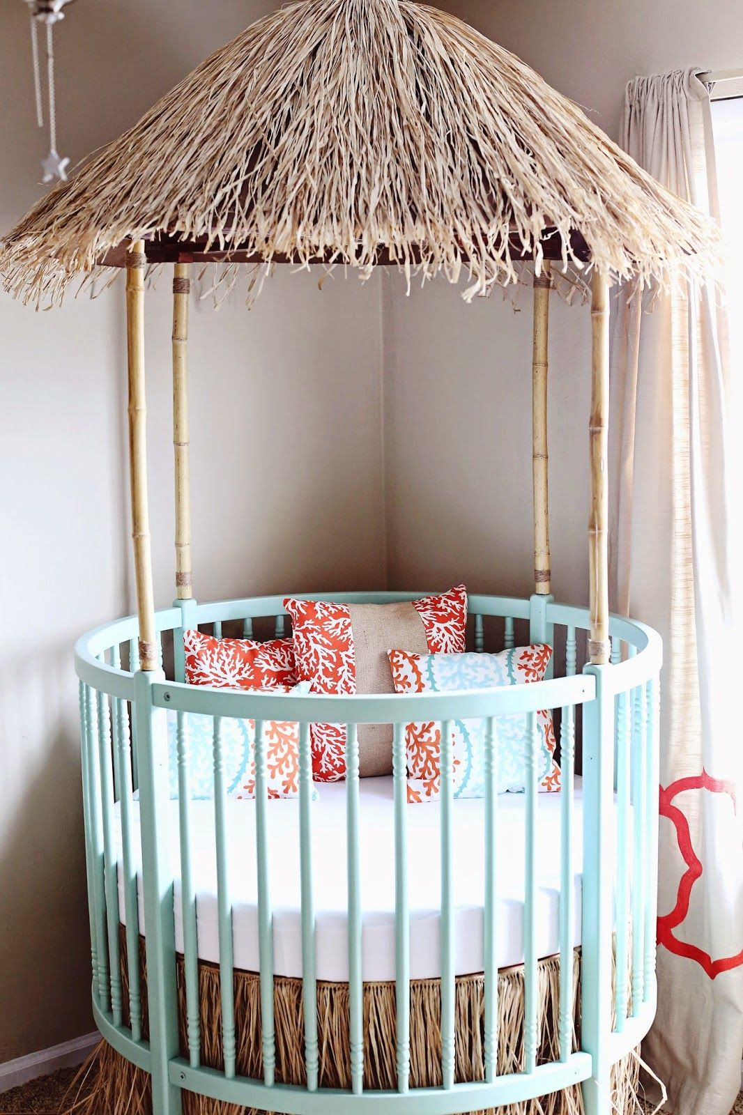Awesome Tiki Hut Crib With Mint Green And Orange Accents