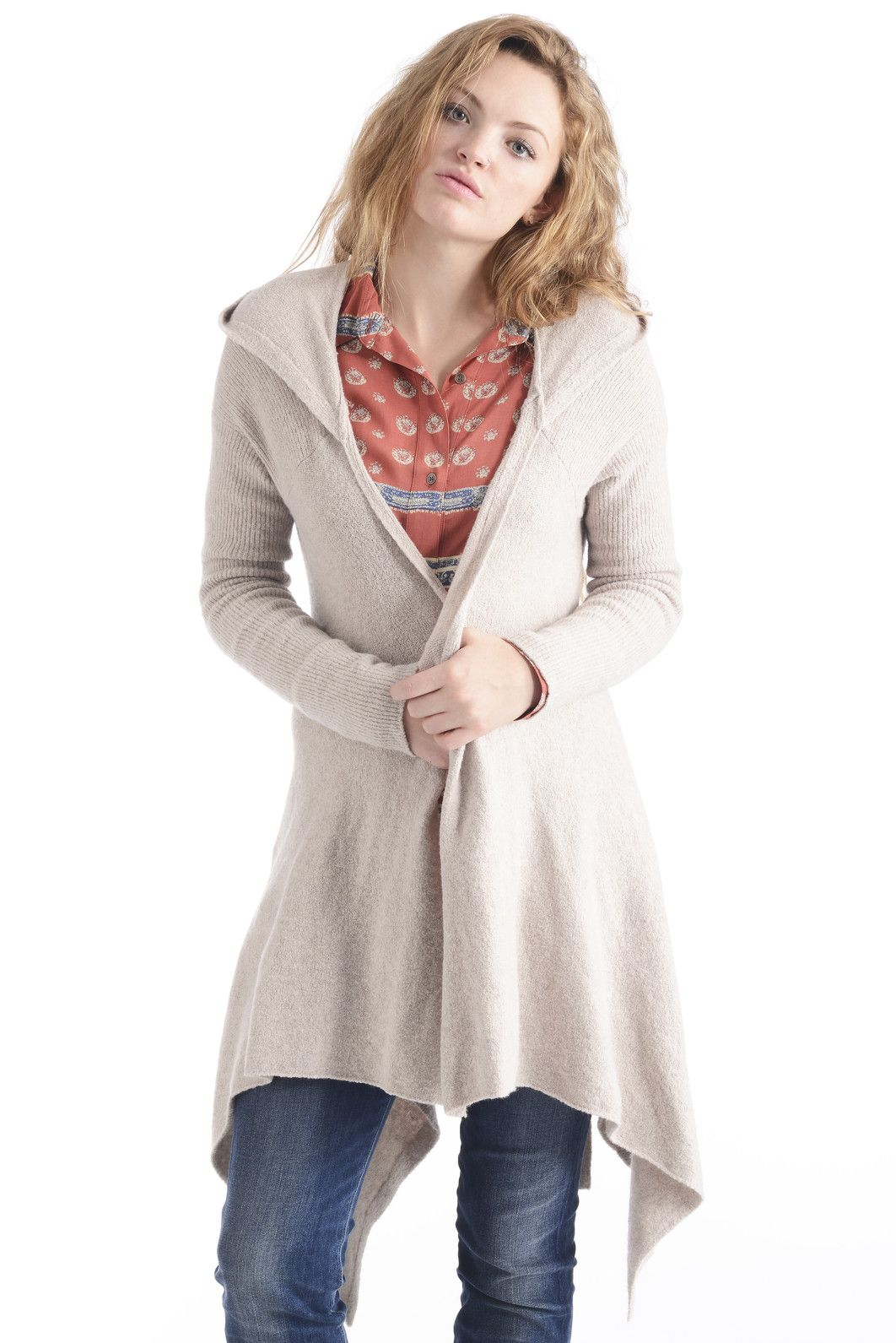 Free People Sloane Hooded Wrap Cardigan Sweater in OATMEAL ...