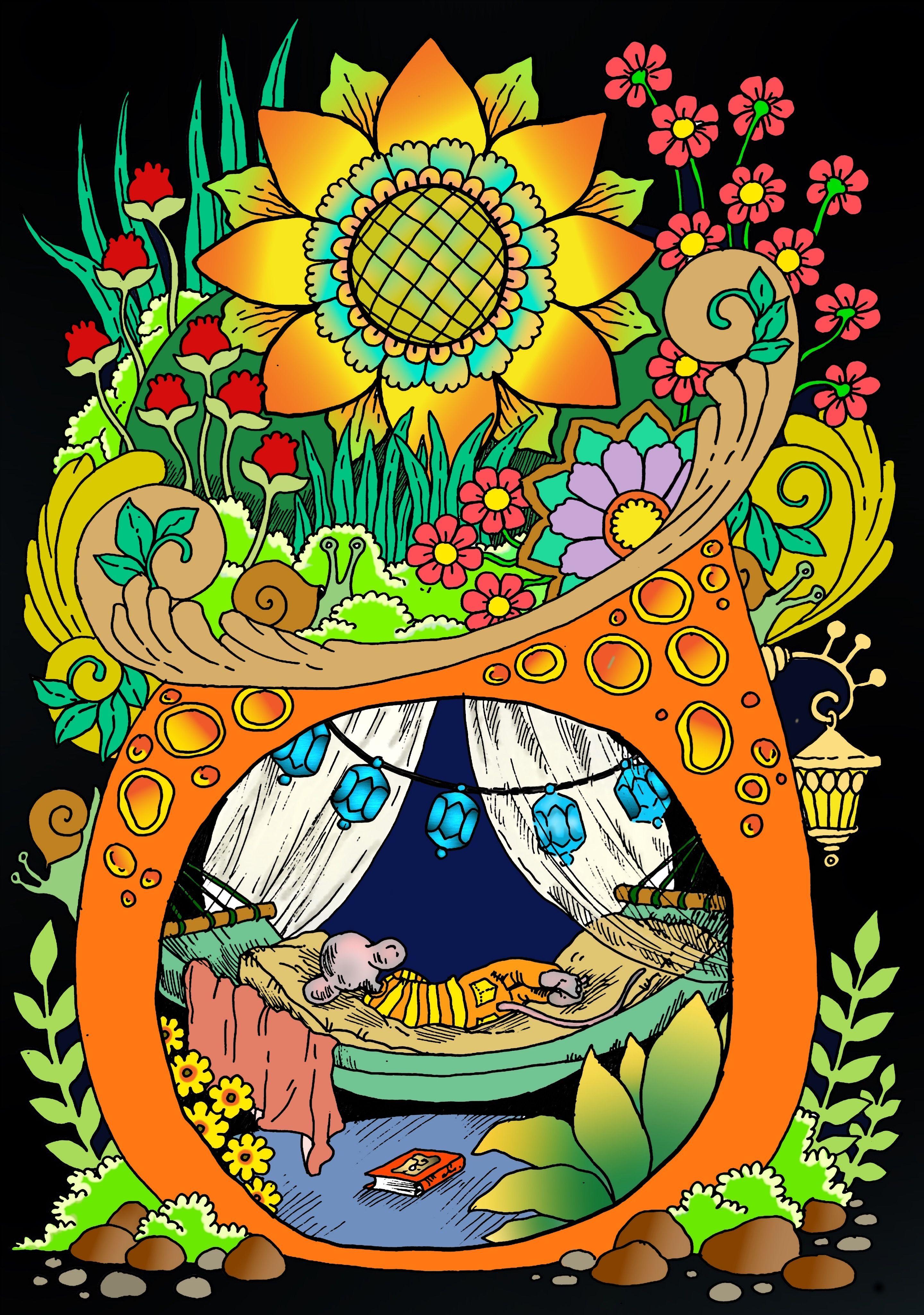 Art By Tatiana Stolova Bogema Book Nice Little Town 5 Digitally Colored Using Pigment App On Ipad Pro Coloring Books Coloring Book Pages Color
