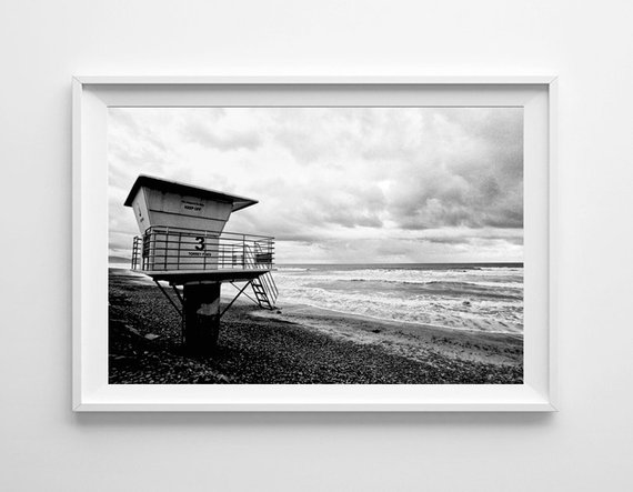 e9428eb7f8ec San Diego Torrey Pines Beach Lifeguard Tower - Black and White Film  Photography