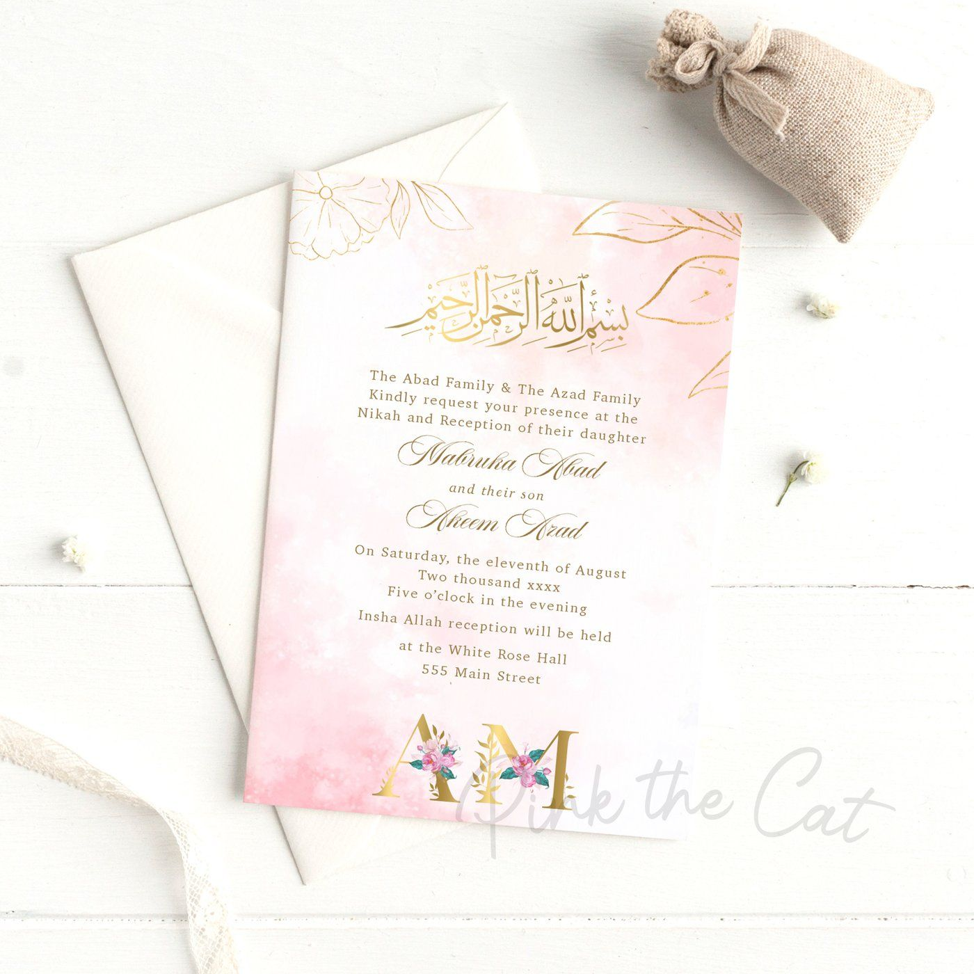 Nikah Invitations Floral Letters in 2020 Floral