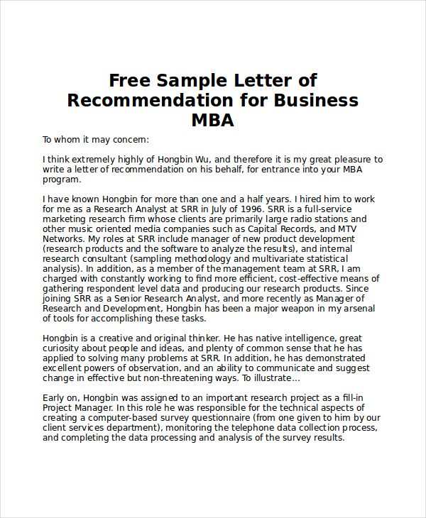 Sle Mba Recommendation Letter 6 Exles In Word Pdf
