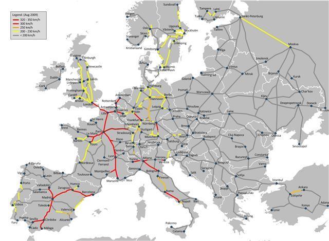 carte europe train