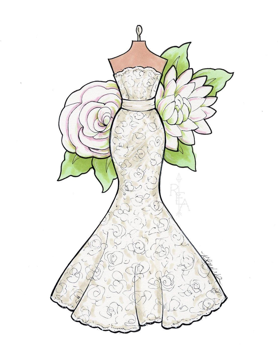 Custom Fashion Illustration Unique Wedding By Robinelizabethart Custom Fashion Illustration Dress Design Drawing Custom Fashion