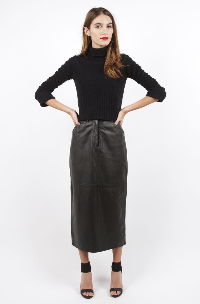Amazing Long Leather Midi Skirt (Small)
