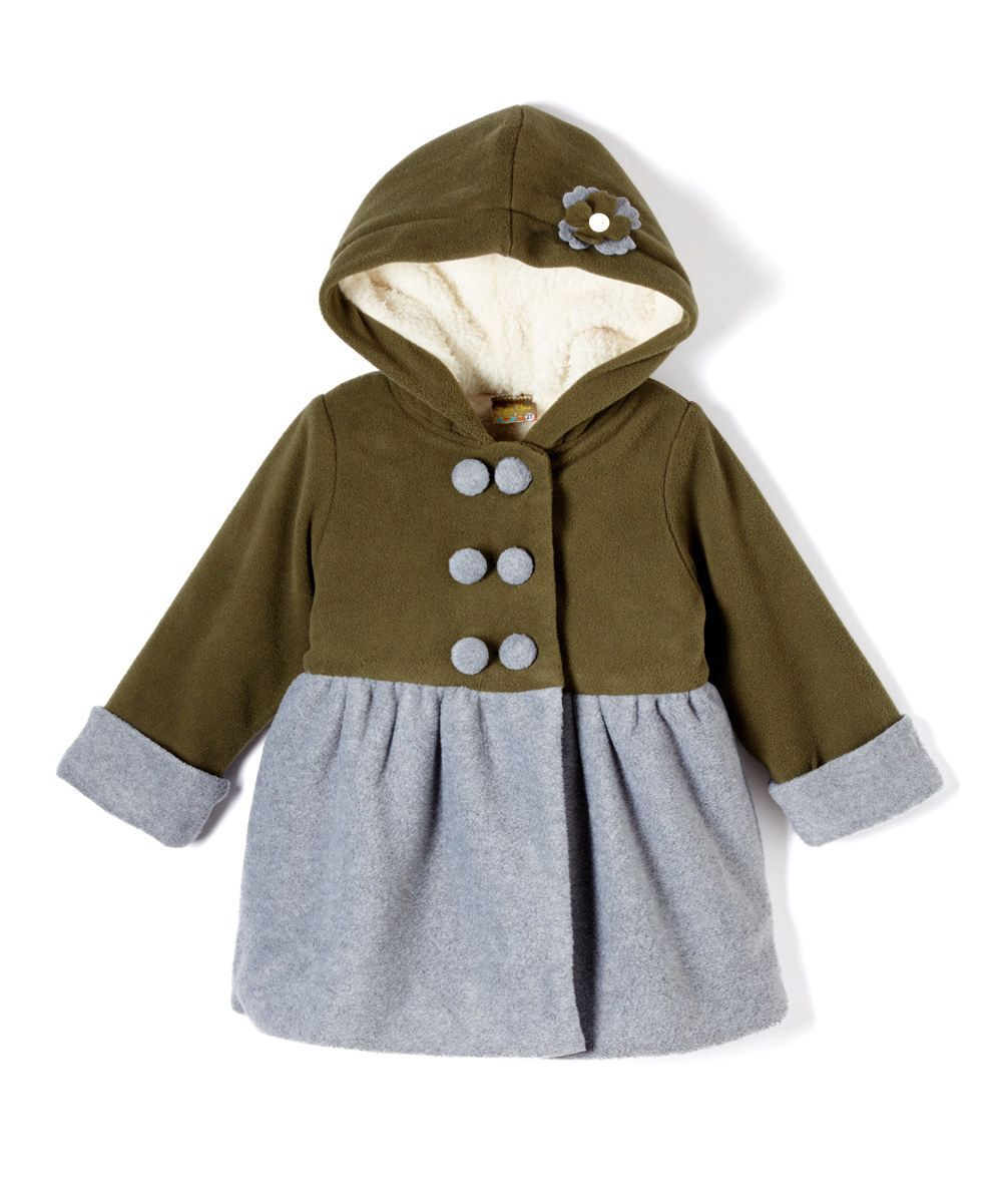 Look at this Olive & Gray Fleece Hooded Jacket - Toddler & Girls on #zulily today!
