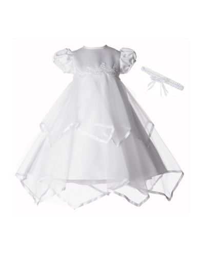 Christening Taffeta Dress with Asymmetrical Overlay and Floral Headband | Lord and Taylor