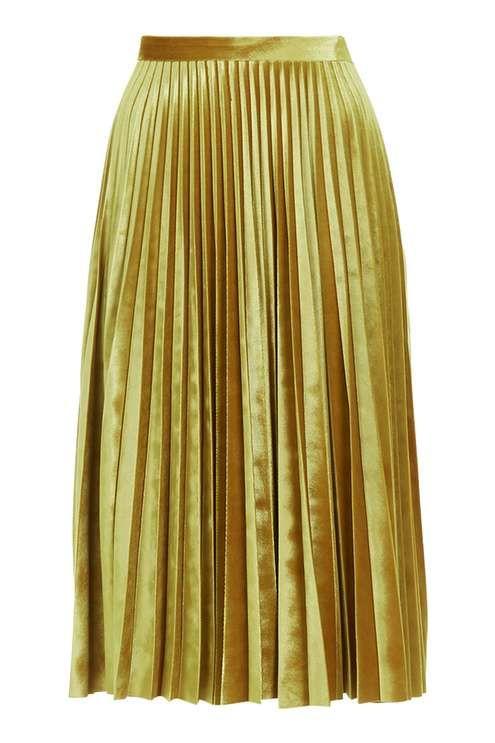c875ea3d4d PETITE Velvet Pleat Midi Skirt | WISH LIST | Pleated midi skirt ...