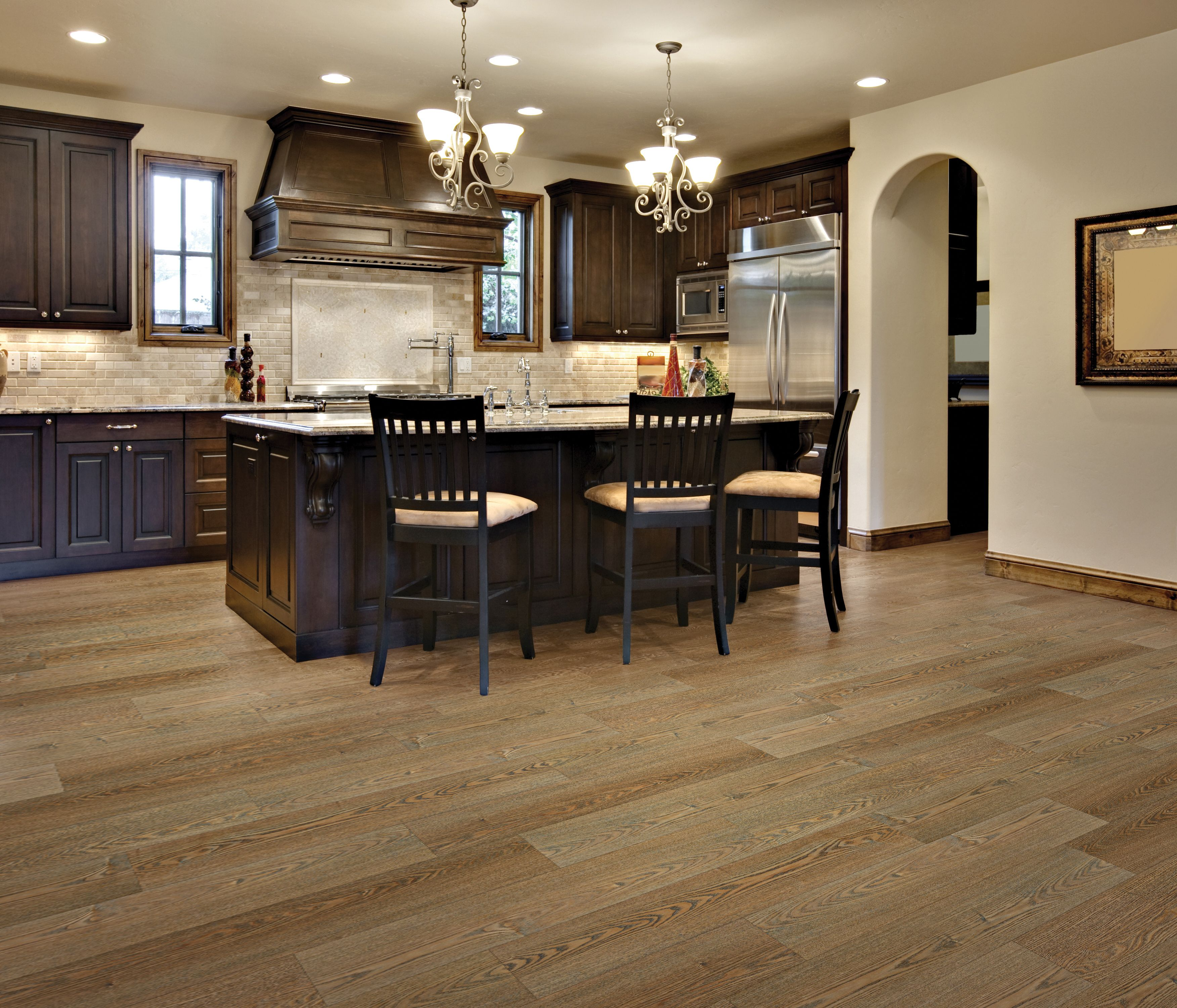 Stainmaster Pet Protect Luxury Vinyl Tile Lvt Lvp Plank Golden Oak Dark Brown Kitchen Cabinets Brown Kitchen Cabinets Dream Kitchens Design