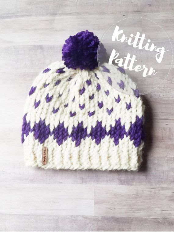 Knitting PATTERN - Super Bulky Diamond Hat - Fair Isle Knitting ...