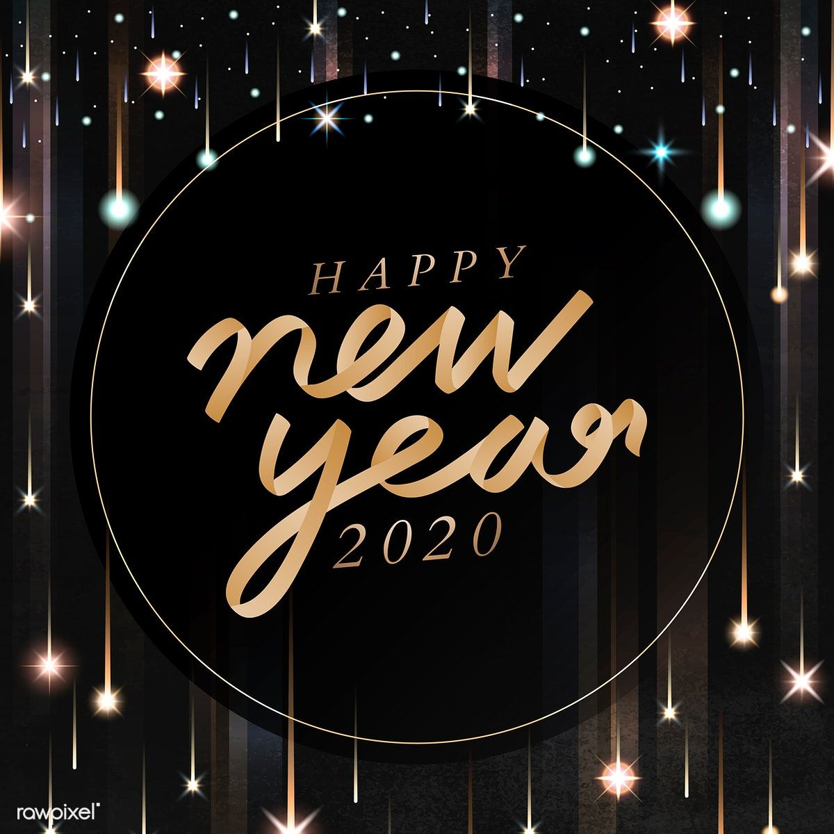 Download premium vector of Happy New Year black greeting