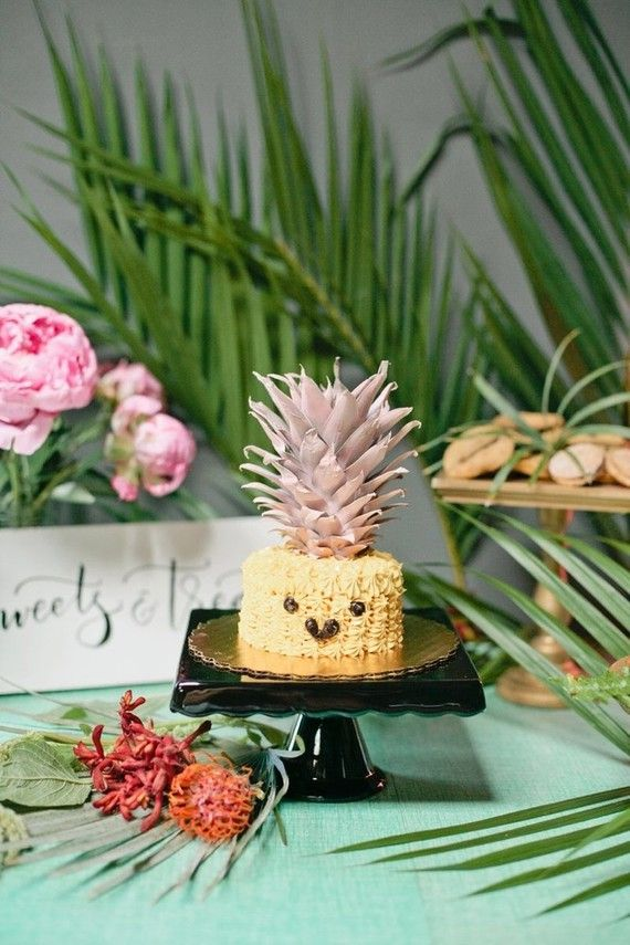 1 pc flowers ONE pineapple cake topper Aloha luau tropical party first birthday boy girl summer theme cake smash