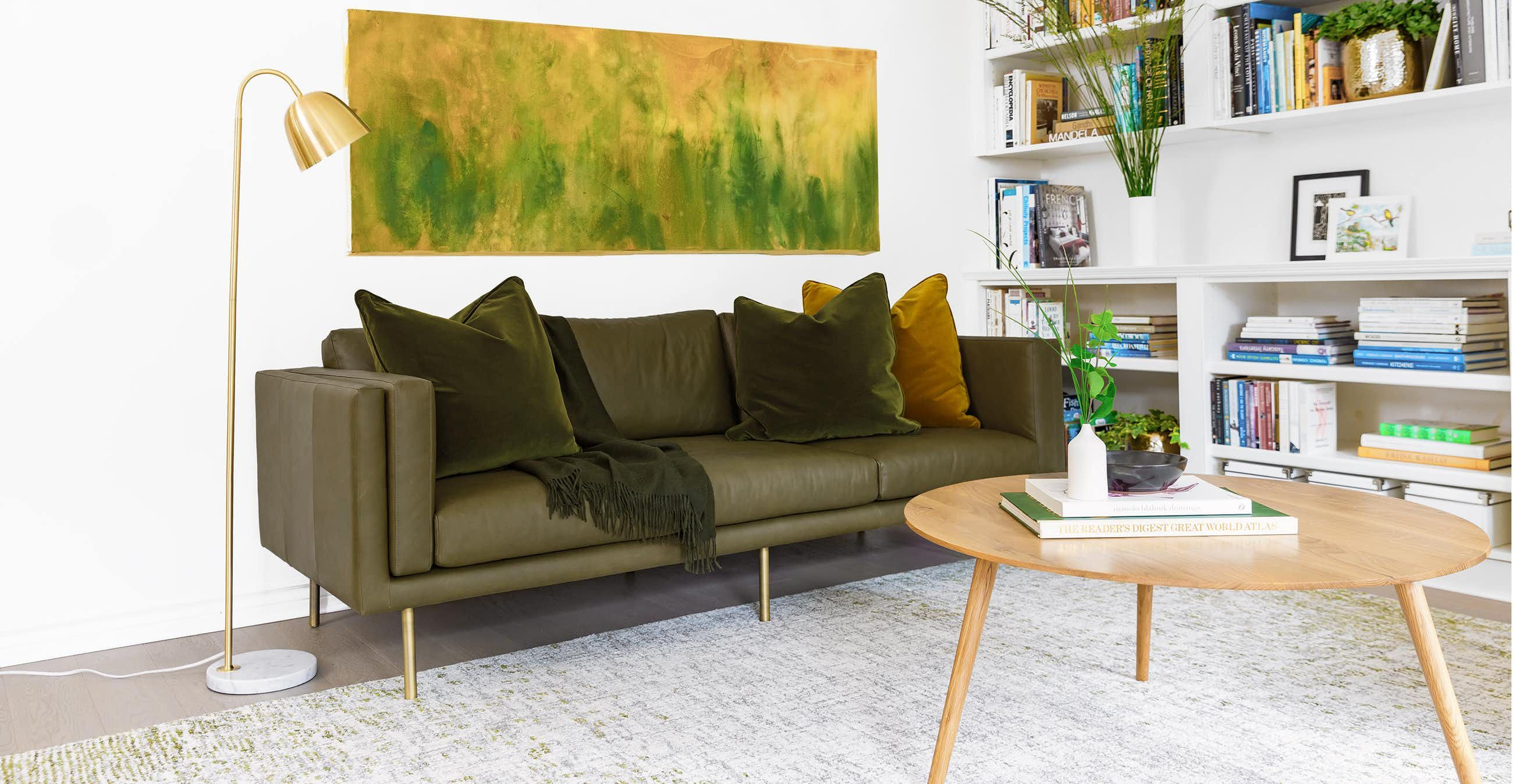 Living Room With Olive Green Couch And Loveseat
