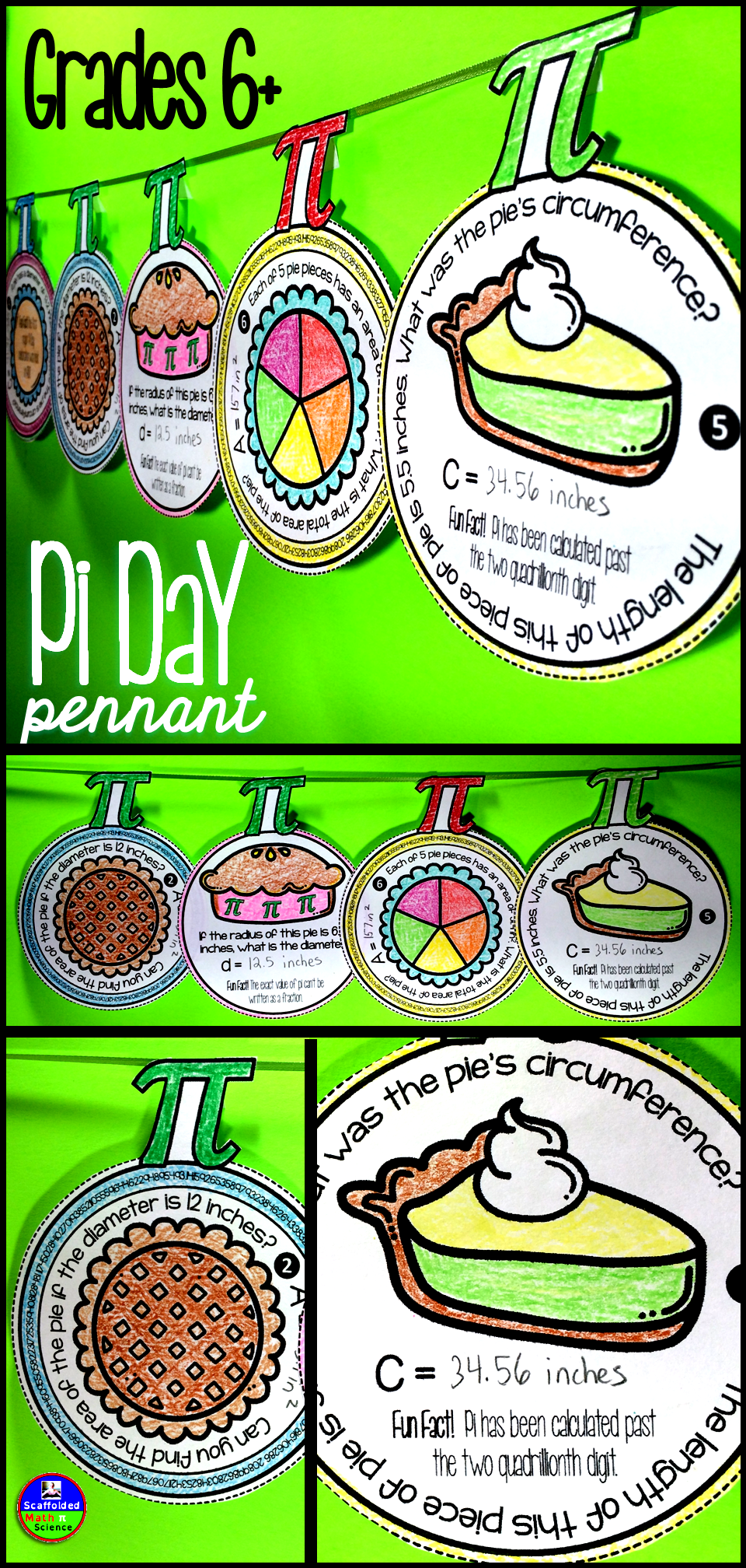 Pi Day Pennant Activity For Middle School Math Grades 7