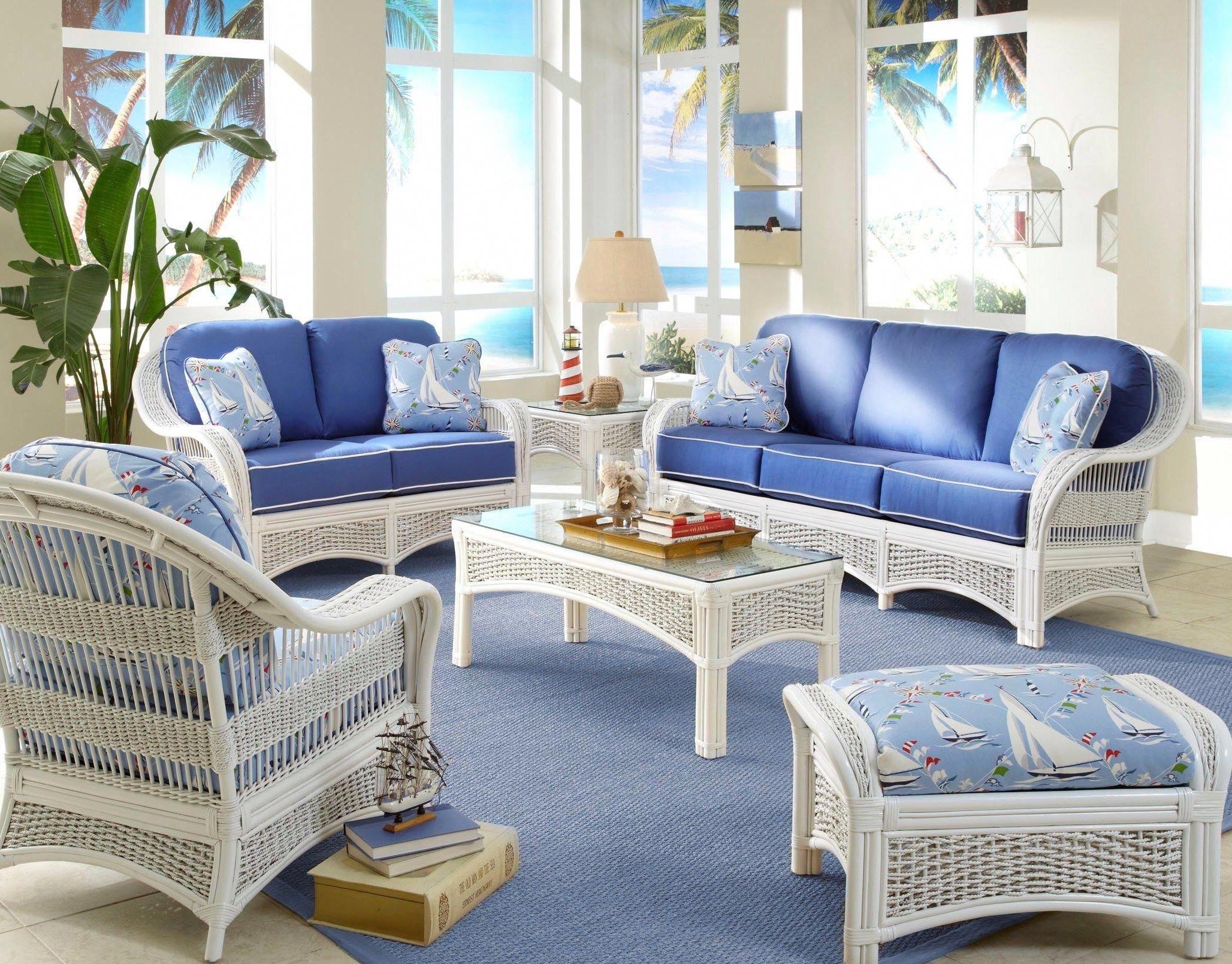 The possibilities are endless when you use white as the base of your color palette for your living room furniture. Regatta Living Room Set | White wicker furniture, Living ...