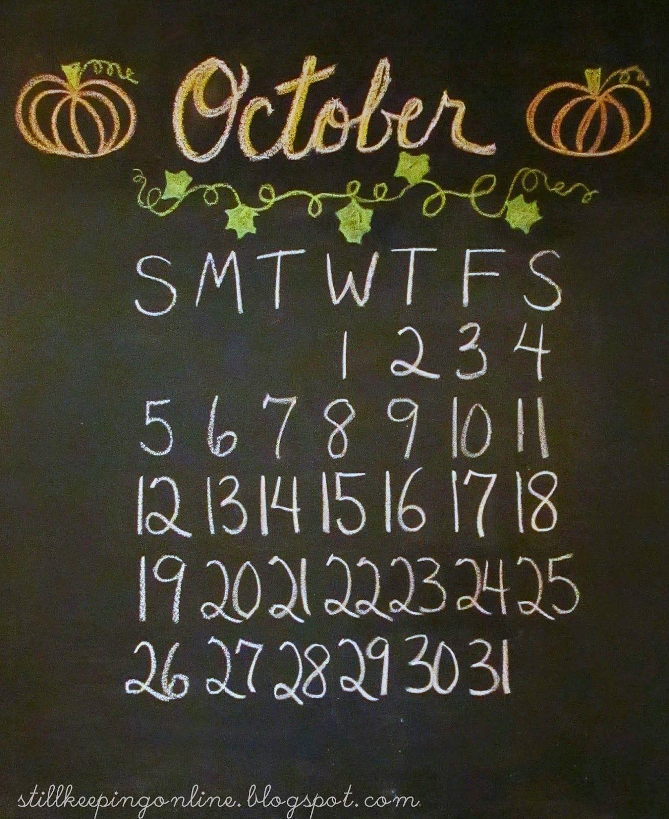 Calener October: Still Keeping On The Narrow Way: The October Calendar