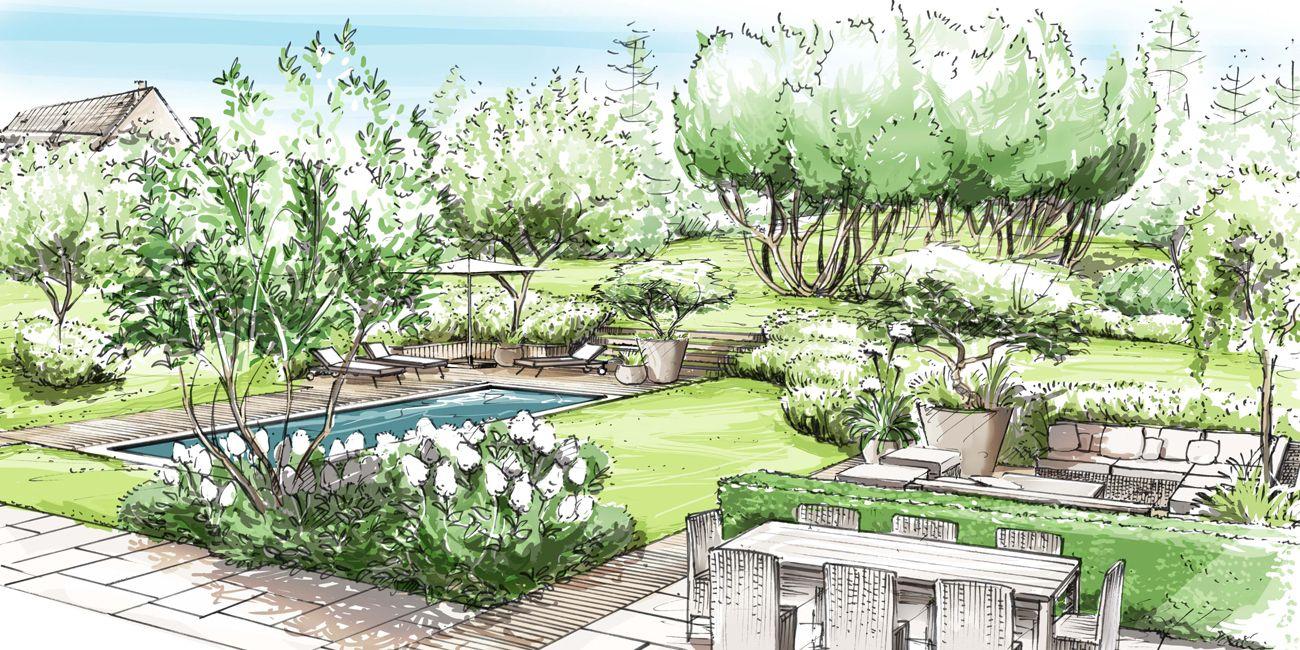 Architetto Di Giardini jardin : beauchene france | loup&co | Рисунки ландшафт, Ландшафт