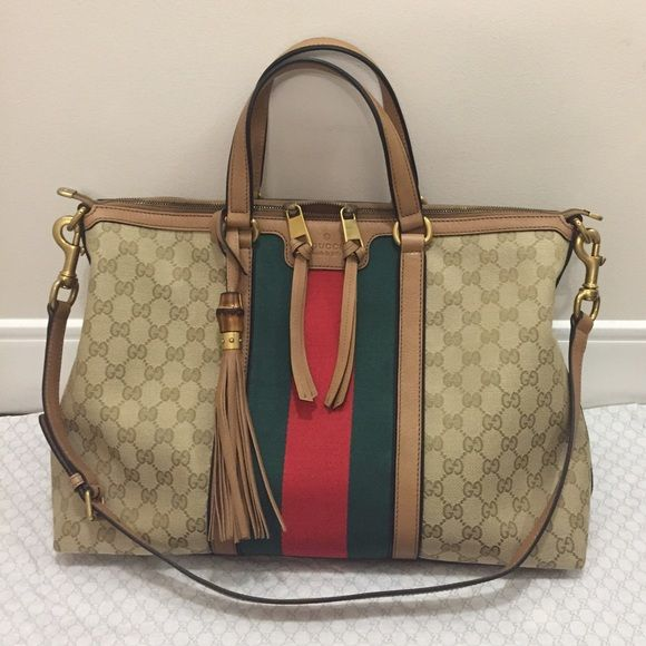 71369f88330c Gucci Rania Original GG Canvas Top Handle Bag Sporty, chic and cool, the  signature web top handle bag makes a casual statement against a neutral  background. ...