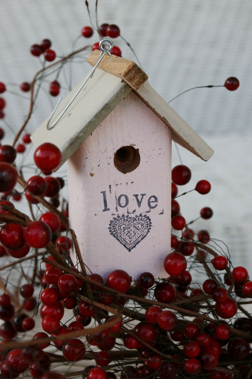 Valentine birdhouse ornaments engagement by shanesbirdhouses