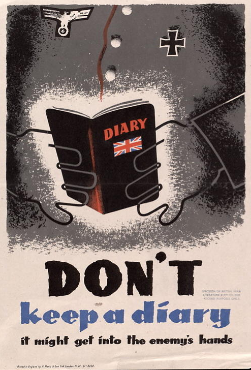 "British WW II propaganda poster: ""Don't keep a diary. It might get into the enemy's hands"""
